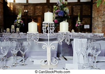Wedding reception candles - Wedding reception table showing...