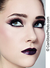 Make-up - Close-up portrait of young beautiful woman with...