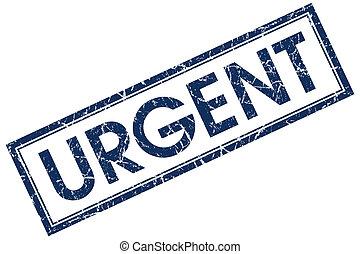 urgent blue square stamp