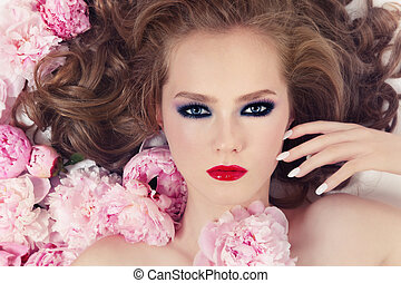 Blooming - Portrait of young beautiful girl with stylish...