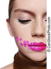 Lips - Close-up portrait of young beautiful girl with...