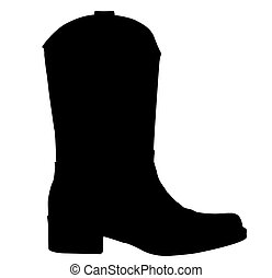 Cowboy Boot Silhouette - A black silhouette of a cowboy boot