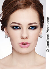 Make-up and hairstyle - Close-up portrait of young beautiful...