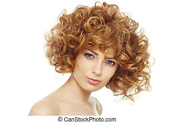 Curly hairstyle - Young beautiful happy healthy woman with...