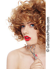 Hairdressing - Portrait of young beautiful woman with curly...