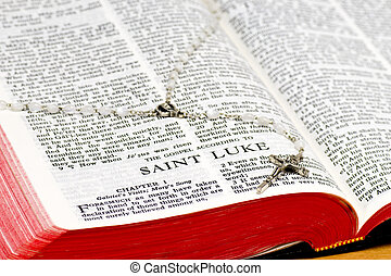Rosary Bible Page - Saint Luke - Close up of Saint Luke...