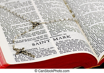 Rosary Bible Page - Saint Mark - Close up of Saint Mark...