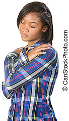 Depressed Teenager - Depressed Black teenage female looking...