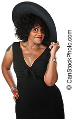Cute Black Woman with Hat - Beautiful mature African woman...