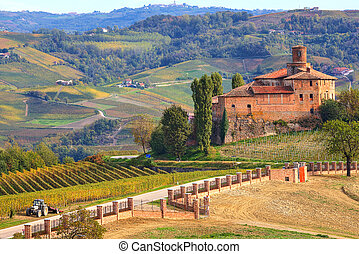 Old castle and vineyards in Piedmont, Italy. - View on...