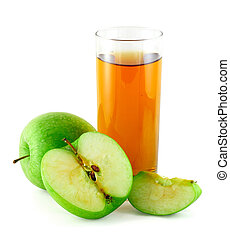 Apple juice with green apples - Apple juice with cutted...