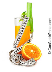 Orange juice celery and measure tape diet concept isolated...