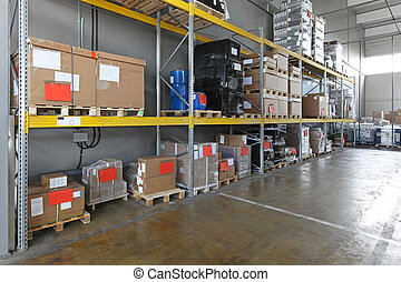 Industrial shelving system in distribution warehouse