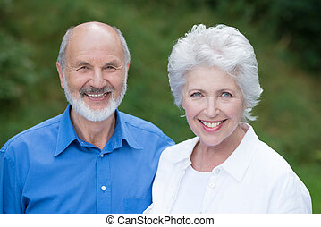 Caucasian senior couple happy together - Horizontal portrait...