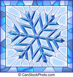 Snowflake stained glass window. - Vector illustration of...