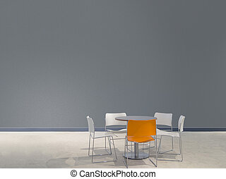 chairs and a table in front of a grey wall - chairs and a...