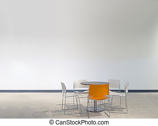 chairs and table - chairs and a table in front of a white...