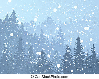 Wild coniferous snowy forest. - Vector illustration of wild...
