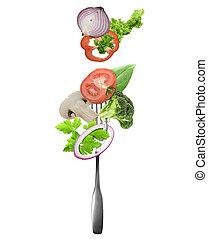 叉子, 新鮮, 蔬菜