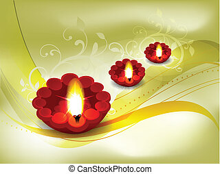 Golden Diwali Card Design Vector illustration