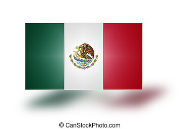 Flag of Mexico (stylized I). - Flag with coat of arms of the...
