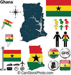 Map of Ghana - Vector of Ghana set with detailed country...