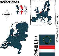 Map of Netherlands with European Union - Vector set of...