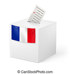 Ballot box with voicing paper. France. - Election in France:...