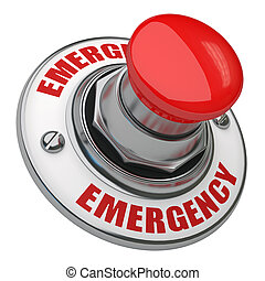 Emergency Button - Button rugged metal screwed on white...