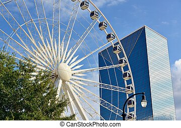 Atlanta Skyline and Ferris Wheel - ATLANAT - AUGUST 25:...