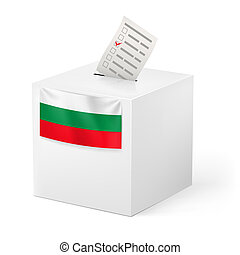 Ballot box with voicing paper. Bulgaria. - Election in...