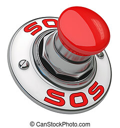 Sos Button - Button rugged metal screwed on white background...