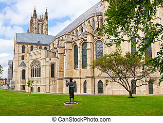 Canterbury Cathedral with The Son of Man Statue in...