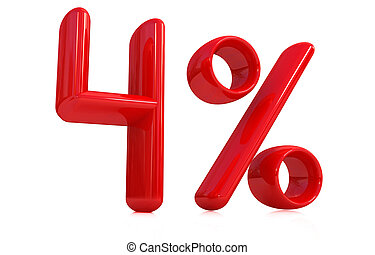 """3d red """"4"""" - four percent"""