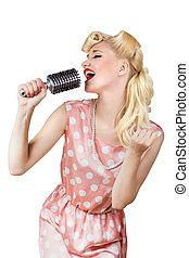 sångare, flicka,  retro