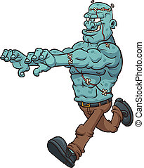 Running Frankenstein - Cartoon running Frankenstein Vector...