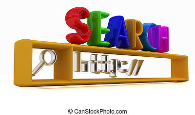 3d internet search string.Business and technology on a white...