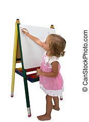 Creative little girl staring to draw on an easel