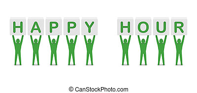 Men holding the phrase happy hour. - Men holding the phrase...