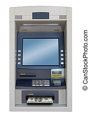 atm machine isolated with 100 dollars bill
