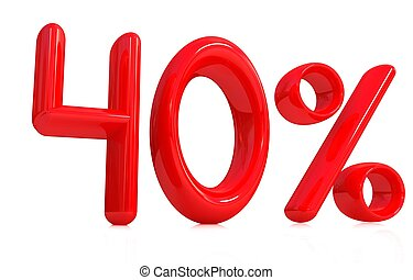 "3d red ""40"" - forty percent on a white background"