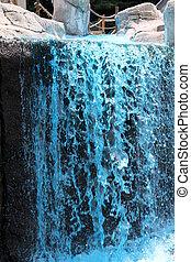 blue fountain gushing