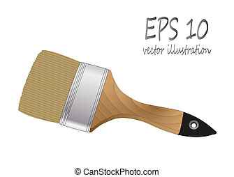 brush paint with wooden handle
