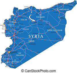 Syria map - Highly detailed vector map of Syria with...