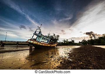 Fishing boat with the morning light - Fishing boat ran...