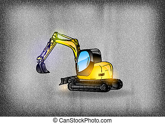 excavator on the grey background