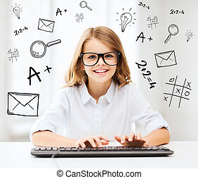 student girl with keyboard - education, school and future...
