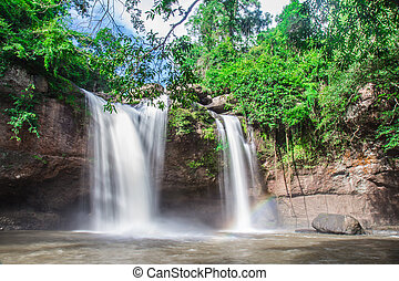 Haew Suwat Waterfall in Kao Yai Nation park of Thailand  first of Nation park