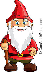 Gnome - Cartoon gnome on white background. Vector