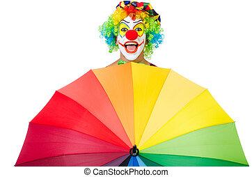 clown, parapluie, isolé, blanc
